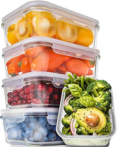Prep Naturals Glass Meal Prep Containers - Food Prep Containers with Lids Meal Prep - Food Storage Containers Airtight - Lunch Containers Portion Control Containers Bpa-Free (5 Pack,30 Ounce) ()