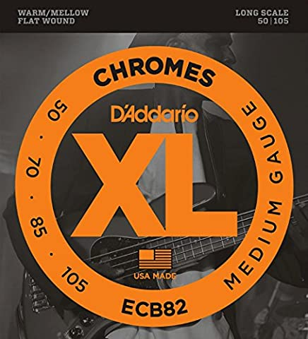 D'Addario ECB82 Chromes Bass Guitar Strings, Medium, 50-105, Long Scale (Flat Bass Guitar Strings)