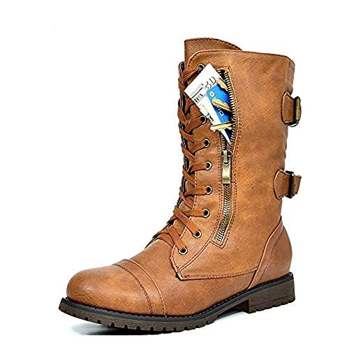 (DREAM PAIRS Women's Terran Camel Mid Calf Built-in Wallet Pocket Combat Boots - 7 M US)