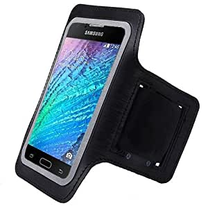 Black ArmBand Workout Case Cover For Samsung Galaxy J1/J100H with Free Pouch