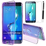Samsung S6 Edge Plus Case, CinoCase Ultra Thin Transparent Soft Gel TPU Flip Case Premium Full Body Shockproof Protective Shell Case With Front and Back Protection for Galaxy S6 Edge Plus Purple