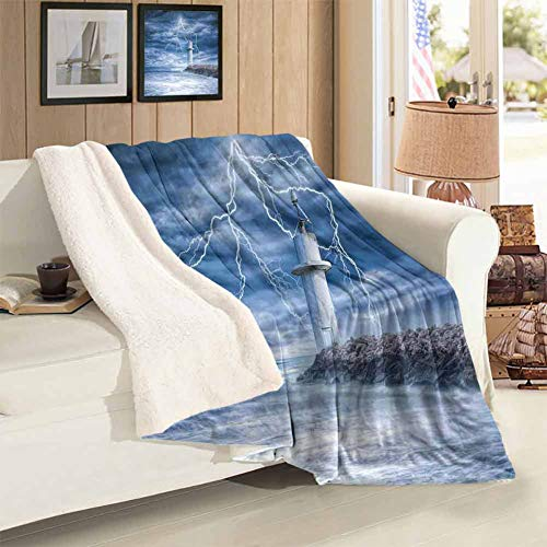 Travel Camping Blanket Twin Size Lighthouse Thunderstorm Turbulent Wind Moody Weather Dramatic Sky Scene Comfortable and Warm Fleece Blanket Throws Blankets for Couch Bed Living Room 59 x 78 inch