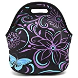 ICOLOR Kids Insulated Lunch Portable Carry Tote Picnic Storage Bag Lunch box Food Bag Gourmet Handbag Cooler warm Pouch Tote bag For School work Office - Purple Butterfly (FLB-020)