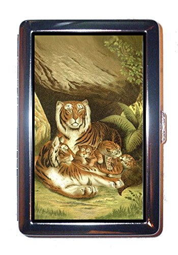 Victorian Tiger Family; Warm & Regal Stainless Steel ID or Cigarettes Case (King Size or 100mm) (Stainless Regal)