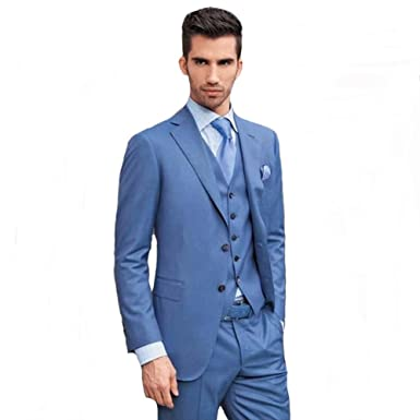 Blue Mens Party Prom Suits 3 Pieces Groom Tuxedos Groomsmen Wedding ...