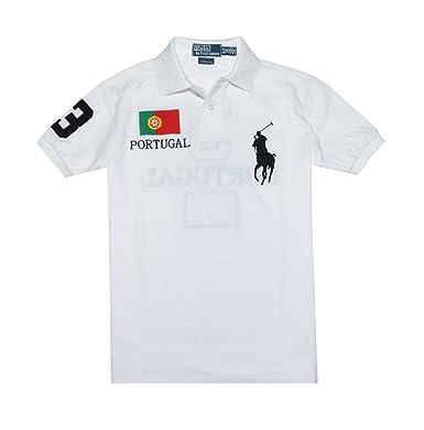 Polo Ralph Lauren Men Custom Fit Flag \u0026amp; Big Pony Logo Polo T-Shirt -