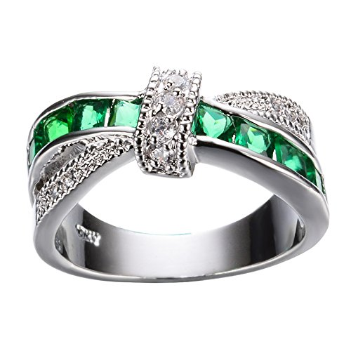 Yanvan Rings for Women, Exquisite Turquoise Sapphire Diamond Studded Zircon Female Ring Crystal Knot