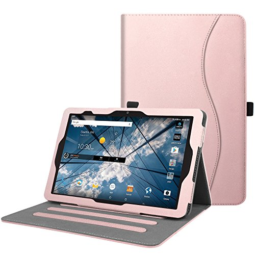 Fintie AT&T Primetime Tablet Case - [Multi-Angle Viewing] Folio Stand Cover with Pocket, Auto Sleep/Wake for 2017 ATT Primetime/ZTE K92 Primetime 10 4G LTE Android Tablet, Rose Gold