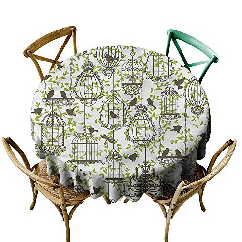 Luunins Round Tablecloth Vintage,Lovely Birdcages and Ivy D36,for Umbrella Table (Umbrella Ivy)