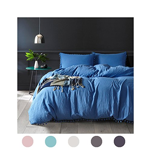 Moreover 3-Piece Blue Duvet Cover Set Ball Fringe Pattern Design Royal Blue Bedding Sets Solid Color Bedding Queen One Duvet Cover Two Ball Fringe Pillow Shams (Queen, Dodger Blue) (Tiffany Blue And White Comforter Set)