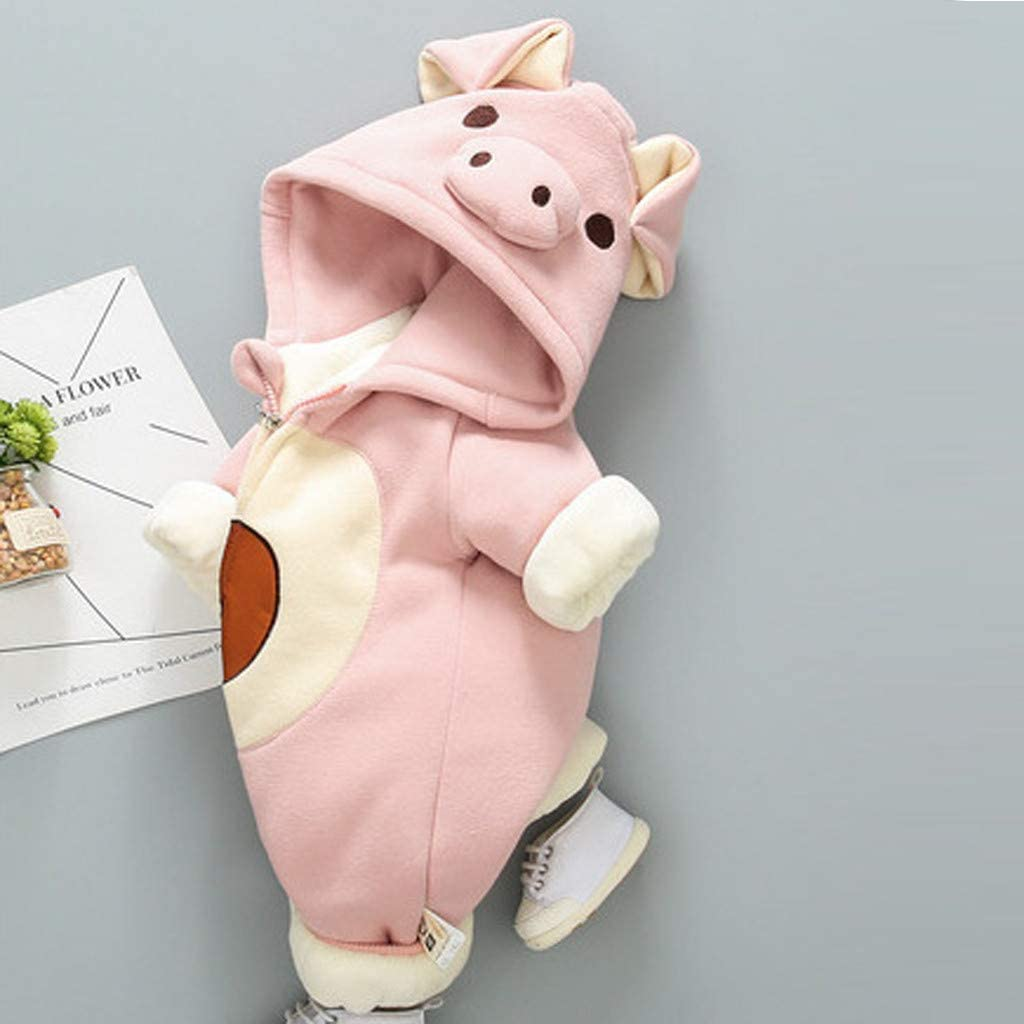Baby Girl Boy Cute Pig Print Hooded Thick Long Sleeve Romper Jumpsuit Playsuit Outfits,3-24 Months,SIN vimklo