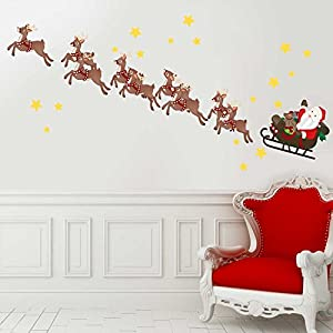 Santau0027s Sleigh U0026 Reindeer Wall Decal Kit   Christmas Wall Decal Kit By  Chromantics