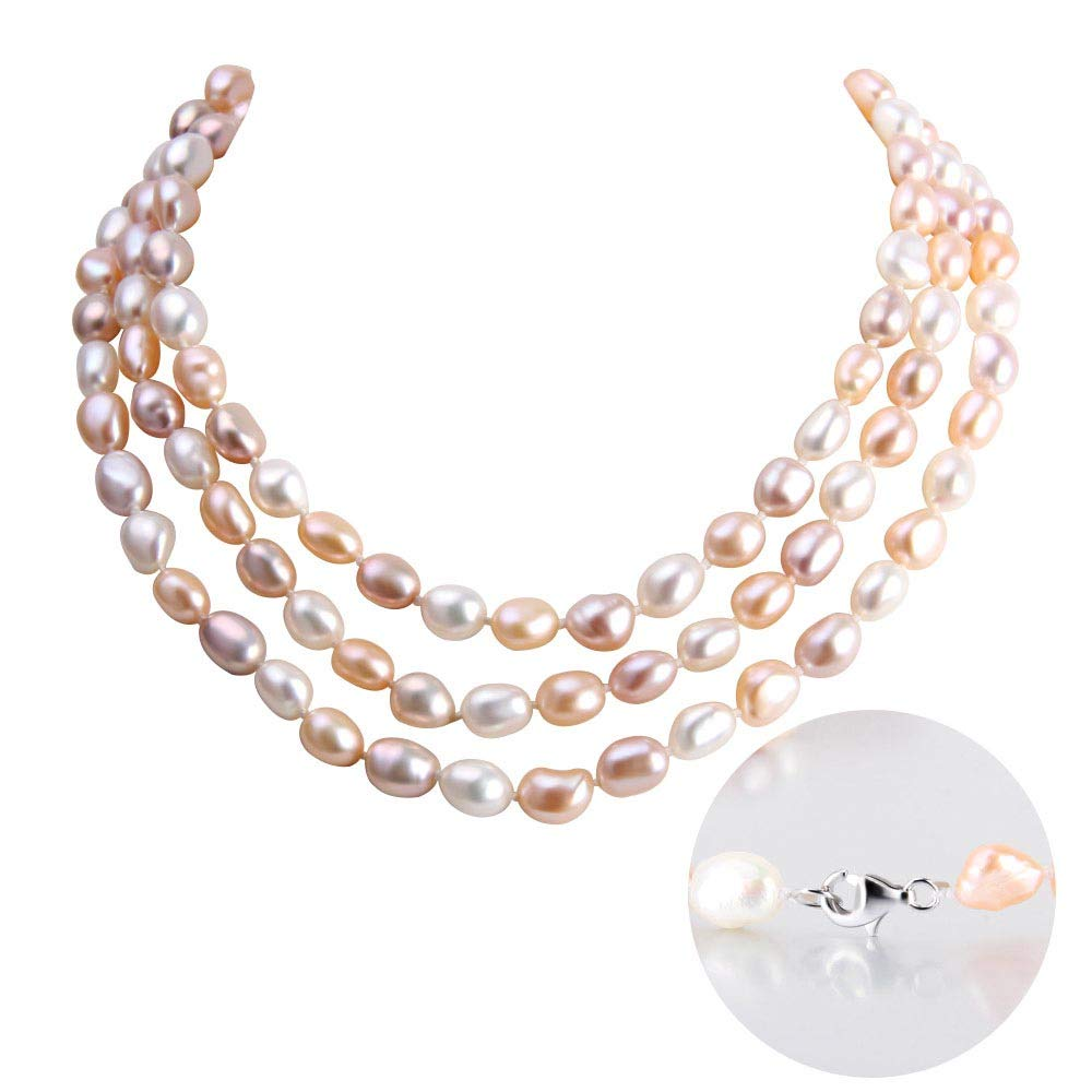 AIM Jewelry Freshwater Cultured Pearl Necklace,Genuine White, Pink, Purple Pearls Strand Necklace for Women Pearl Jewelry in 48Inch,64Inch