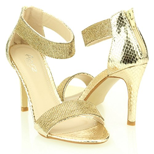 Mujer Señoras noche Boda Party tacón alto Open Toe Diamante Nupcial Sandalia Zapatos Tamaño (Oro, Negro, Champagne, plata) Oro
