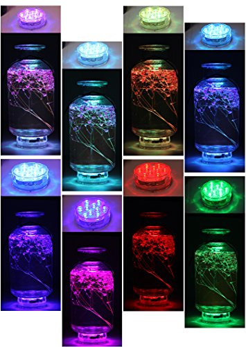 Underwater Submersible LED Lights Waterproof Multi Color Battery Operated Remote Control Wireless 10-LED lights for Hot Tub,Pond,Pool,Fountain,Waterfall,Aquarium,Party,Vase Base,Christmas,IP68 2pack by WHATOOK (Image #2)