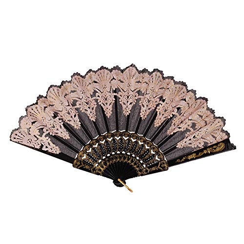 - Fencodi Chinese Traditional Hollow Fan Wooden Hand Made Exquisite Folding Wedding Gift Black