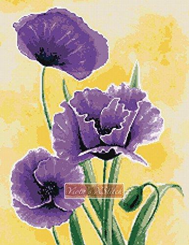 amazon com purple poppies flowers counted cross stitch kit