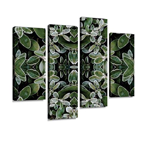 - Leaf Kaleidoscope Abstract Canvas Wall Art Hanging Paintings Modern Artwork Abstract Picture Prints Home Decoration Gift Unique Designed Framed 4 Panel