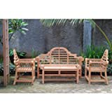 Windsor's Premium Grade A Teak Lutyens 4pc Set,from Indonesian Plantations, 3 Seater Bench 65″/62 lbs, Two 36″/40lbs Chairs, 47″/40lbs Coffee Table,5 Yr Wnty , List $4600 -SAVE! Teak Lasts A Lifetime! Review