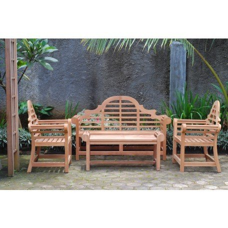 Windsor's Premium Grade A Teak Lutyens 4pc Set,from Indonesian Plantations, 3 Seater Bench 65
