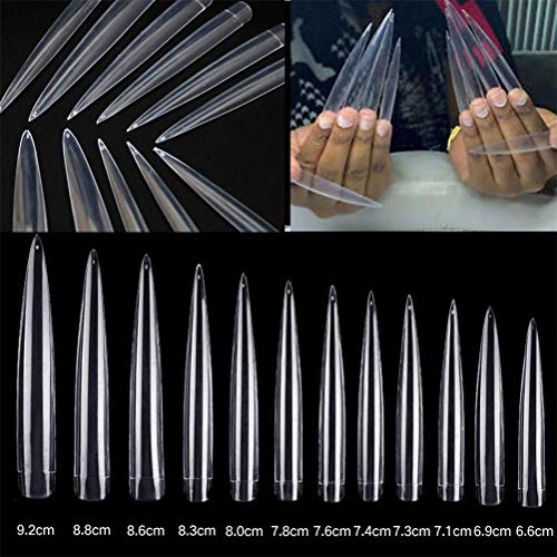 AORAEM Stiletto False Nail Clear Extra Long Sharp Nail Art Tips 12 Sizes 120 Pcs Acrylic Fake Nail (Clear Long Nail)