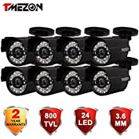 TMEZON 8 Pack 800TVL CCTV Security Surveillance Camera Day & Night Vision Home Security Waterproof Outdoor Camera IR Cut 3.6mm Wide View Angle Lens Black