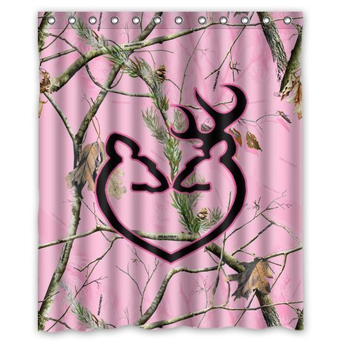 Customized Unique Pink Camo Design Waterproof Polyester Fabric Bathroom Custom Shower Curtain 60 Inch X 72
