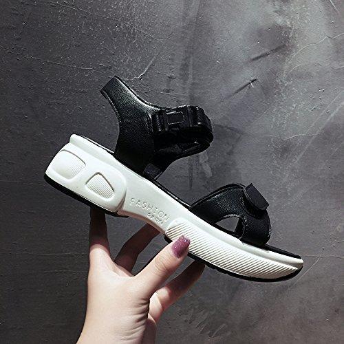 SOHOEOS sandalias de punta abierta zapatos de plataforma grueso mujer verano nueva estudiante de moda talón de velcro zapatos de playa tacón mujer zapatos romanos deportes al aire libre ligero informa negro