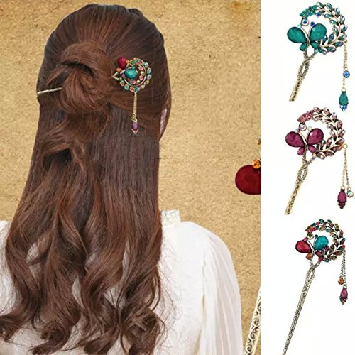 Retro Vintage Butterfly Flowers Metal Hairpin Diamond Dangle Kanzashi colorful Hair Pin Stick (purple) EYX Formula