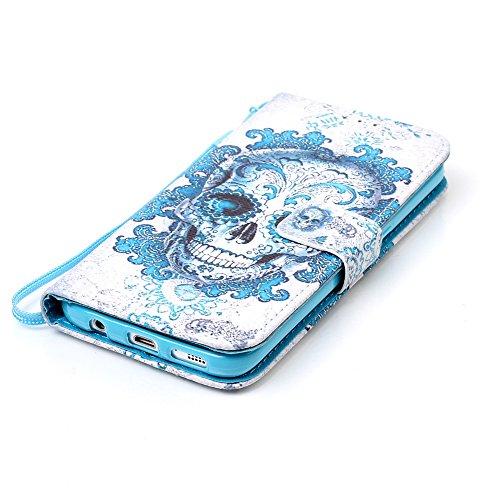 Custodia Samsung Galaxy S7 / G930F Cover Case, Ougger Skull Portafoglio PU Pelle Magnetico Stand Morbido Silicone Flip Bumper Protettivo Gomma Shell Borsa Custodie con Slot per Schede