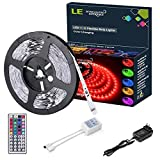 LE 12V Flexible RGB LED Light Strip Kit, Color Changing, 150 Units 5050 LEDs, Non-Waterproof, Remote Controller and Power Adaptor Included, LED Tape, Pack of 16.4ft/5m