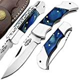 Best.Buy.Damascus1 Blue Wood Custom 5.5'' Handmade Double Bloster Stainless Steel Folding Pocket Knife with Back Lock Come with Leather Sheath 100% Prime Quality
