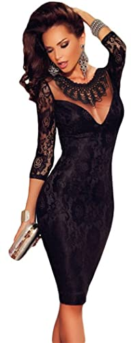 TomYork Black Lace Embroidered Necklace Evening Dress