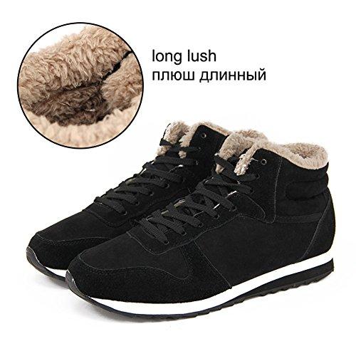 Unisexe Bottines Course Noir Avec Femmes De Cheville Chaud Doublure Sneakers Sport Hiver Chaussures Hommes Hibote Fqxwtdd