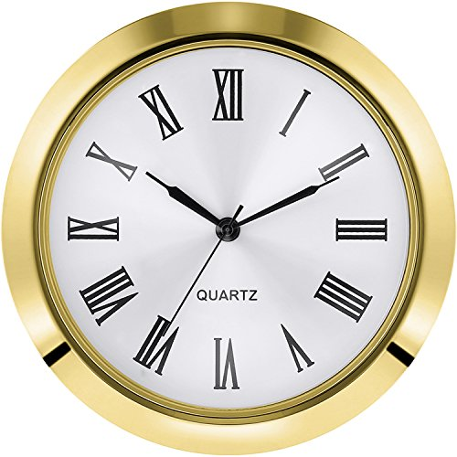 Hicarer 1.8 Inch (45 mm) Clock Insert Fit Diameter 1.6 Inch (40 mm) Hole, Roman Numerals (Gold Bezel) -