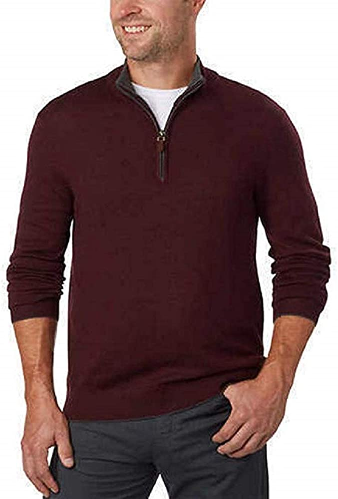 Kirkland Signature Men/'s Extra Fine Merino Wool /¼ Zip Sweater