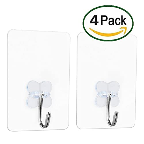 Adhesive Wall hooks, Without Nails, Damage Free,Easy Install, Heat Resistant, Waterproof and Oilproof, Transparent Bathroom Kitchen Key Wall hook, Ceiling Hanger. 8Kg