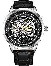 Men's 'Symphony' Automatic Stainless Steel and Leather Dress Watch, Color:Black (Model: 133.33151)