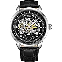 Stuhrling Original Men's 'Symphony' Automatic Stainless Steel and Leather Dress Watch, Color:Black (Model: 133.33151)
