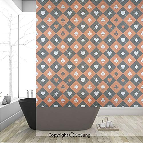 3D Decorative Privacy Window Films,Card Suit Chess Board Classic Checkered Pattern Symbols Decorative,No-Glue Self Static Cling Glass Film for Home Bedroom Bathroom Kitchen Office 36x48 Inch ()