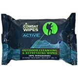 Active Outdoor Wet Wipes | Extra Thick, Ultralight, Biodegradable, Body & Hand Cleansing/Refreshing Wet Wipes for Camping, Travel, Gym & Backpacking w/Natural Aloe & Vitamin E (25 Pack)
