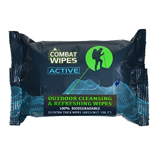 Combat Wipes Active- Extra Thick, Ultralight, Biodegradable, Body & Hand Cleansing/Refreshing Wet Wipes for Camping, Travel, Gym, Backpacking & Outdoors w/Natural Aloe & Vitamin E (25 Pack)