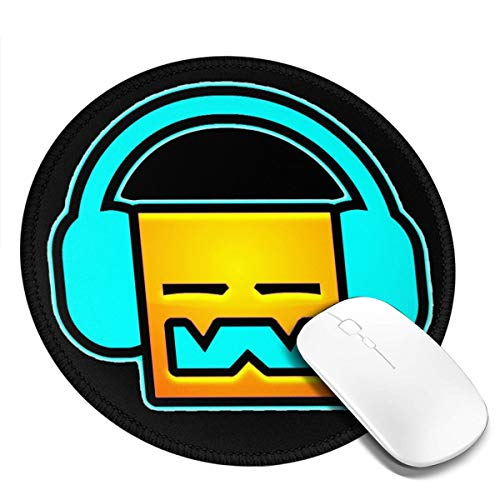 Geo-metry Dash Round Mouse Pad Waterproof Smooth Ultra-Thin Precision Control Game Office7.9x7.9 in (Best Mouse For Geometry Dash)