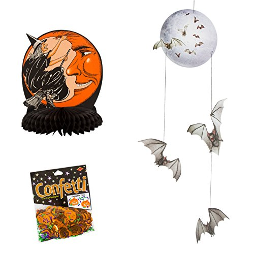 Beistle Witch and Moon Centerpiece, Beistle Halloween Mobile Hanging Party Décor and Beistle Pumpkin Face Confetti (Halloween Spooktacular Savings)