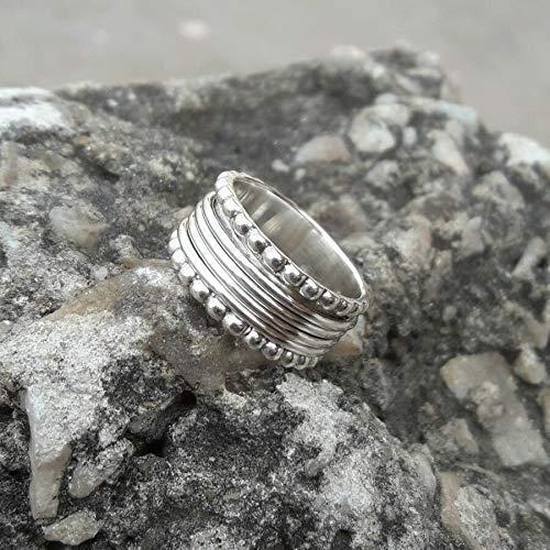 Anillos de plata de banda ancha para mujer,Spinning Band Ring ...