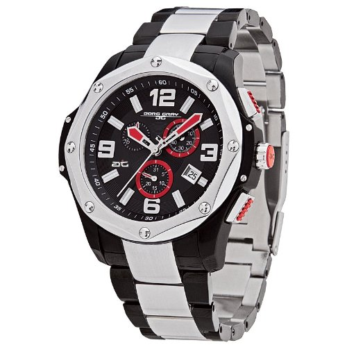 Two Tone Wrist Watch Solid (Jorg Gray JG9100-77 Round Watch with Two-Tone Black/Silver Solid Stainless Steel Bracelet with Safety Clasp)
