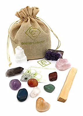 Cristalli Collection Healing Crystals and Stones-12 Piece Set -7 Chakra Tumbled Stones - Amethyst Cluster - Rose Quartz - Smokey Quartz Point - Selenite Tower - Palo Santo - BONUS E-book