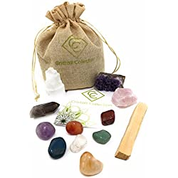 Cristalli Collection Crystals and Healing Stones-12 Piece Set -7 Chakra Tumbled Stones - Amethyst Cluster - Rose Quartz - Smokey Quartz Point - Selenite Tower - Palo Santo - BONUS Gift E-book
