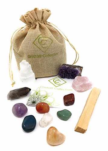 Cristalli Collection Crystals and Healing Stones-12 Piece Set -7 Chakra Tumbled Stones - Amethyst Cluster - Raw Rose Quartz - Smokey Quartz Point - Selenite Tower - Palo Santo - Bonus Gift E-Book