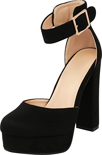 983ef2b92e Cambridge Select Women's Closed Round Toe Buckle Thick Ankle Strap Chunky  Platform Wrapped High Heel Pump